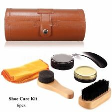 Outdoor Travel Shoe Boot Shine Care Set Wooden Polish Brush Kit Cleaning Tool
