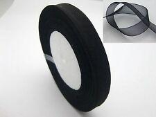 "50 Yards 1/2"" (12mm) Black Wedding Crafts Sheer Organza Ribbon"