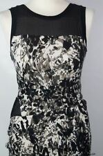 DKNY BLACK MULTI SLEEVELESS CREW NECK STRETCHY DRESS SIZE S 8 10 RRP £250 NEW