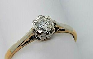 Antique 18ct yellow  gold/platinum diamond solitaire ring