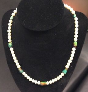 Turquoise And Cultured Freshwater Pearl Necklace And Earrings Set Handmade
