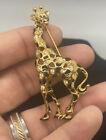 Signed Swan Gold Tone Clear Crystal Black Enamel Swarovski Giraffe Brooch Pin