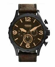Fossil JR1487 Nate Brown Leather Japanese Quartz Fashion 50mm Men's Watch