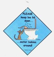BENGAL CAT PLEASE KEEP LOO LID DOWN TOILET LAMINATED SIGN BY SUZANNE LE GOOD