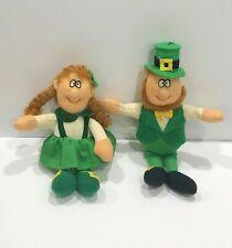 "Russ 5""-6"" Soft Stuffed Pair Leprechauns #1661 St Patrick's Day Vintage Plush"