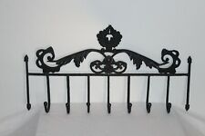 Vintage Metal Wall Mounted Clothes Hat Rack Victorian Style Scrolls 7 Hooks