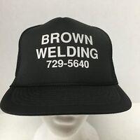 Brown Welding Trucker Hat Cap Snapback Black  Braided Rope Across Bill