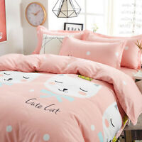 Cat Print Pink Bedding Set Duvet Quilt Cover+Sheet+Pillow Case Four-Piece HOT