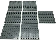 Lego 7 New Dark Bluish Gray Plates 8 x 8 Dot Pieces Parts