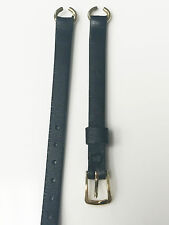 Genuine Calf Leather 8mm Black Band with Stainless Steel Gold Buckle