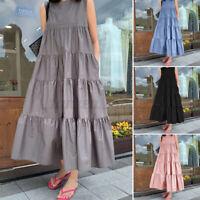 UK Womens Summer Holiday Beach Sleeveless Sundress A-Line Tiered Long Maxi Dress