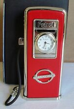 Red petrol pump miniature clock BNWB