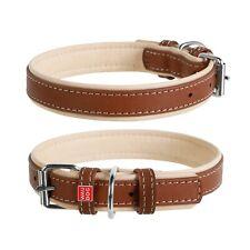 Luxurious, European WAU DOG SOFT Genuine Brown Leather Dog Collar. SIZE: SMALL