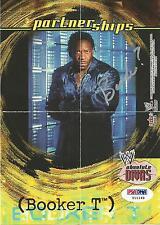 Booker T Signed WWE 2002 Fleer Absolute Divas Poster Card Partnerships Autograph