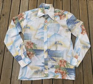 Vintage HUK-A-POO Long Sleeve Shirt Hawaiian Beach Scene Surf Mens S