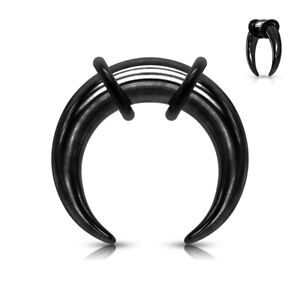 1pc PVD Plated Septum Ring / Buffalo Taper Expander Plug Pincer Black Gold