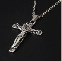 Pendentif Chaine Christ Croix Jesus Metal Argent INRI Collier Neuf Cross Pendant