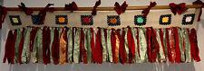 "Shabby Handmade Gypsy Boho Hippie Rag Valance Curtain Window,Wall,Door, 63""X17"""