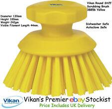 Vikan Round Heavy Duty Stiff Scrubbing Brush Floors Work Surfaces Wheels Yellow