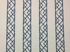 BALLARD DESIGNS REVA BLUE IVORY BAMBOO STRIPE MULTIUSE FABRIC BY THE YARD 54