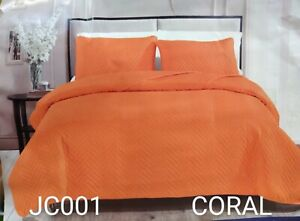 ROXY CORAL SOLID COLOR SPECIAL FABRIC BEDSPREAD COVERLET SET 2PCS TWIN SIZE