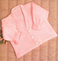 Baby  Matinee Coat Smock Effect Yoke & Cuff  Knitting Pattern~ 4 ply/ DK 19 -23""