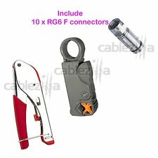 Universal Compression Tool Stripper RG6 RG59 Coaxial Cable BNC RCA F Connector10