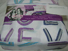 D-Signed The CeCe & Rocky Collection LOVE Full Sheet Set Blue Purple Navy NIP