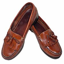 Nordstrom Aniline Top Grain Leather Handsewn Kiltie Tassel Loafers Shoes 10 M