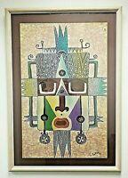 A Large, Framed and Glazed, Vintage, Signed, Batik of a Stylised Aztec Face