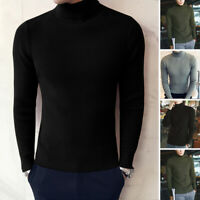 Mens New Plain Roll Neck Sweatshirt Jumper Top Pullover Long Sleeve Sweater Tops