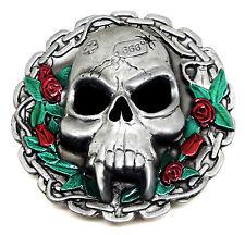 Skull Belt Buckle Vamp Chain Roses Flower Gothic Womens Authentic Dragon Designs