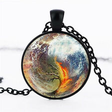 Wholesale Cabochon Glass Black  Chain Pendant Necklace ,Nine planet Tree /81