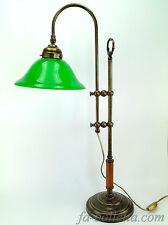Lampada ottone brunito da tavolo,lampade ministeriali ufficio,vetro verde slg23