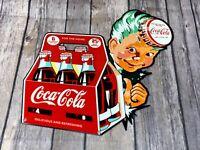"VINTAGE DRINK COCA COLA BOTTLES 6 PACK BOY 11"" METAL SODA POP ADVERTISING SIGN"