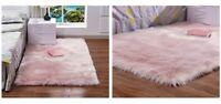 PINK Sheepskin Fur Rug Plain Soft Chair Seat Cover Non Slip Fluffy Carpet Mats