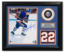 Mike Bossy New York Islanders Signed Retired Jersey Number 23x19 Frame