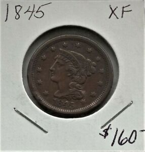 1845 Braided Hair Large Cent Penny XF