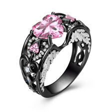 Heart Angel Wings Pink Sapphire Gem Wedding Engagement Black Gold Promis Jewelry