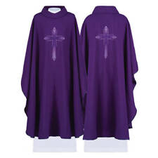 Haftina Purple Gothic Chasuble Vestment With Cross Symbol | Kasel | Casulla
