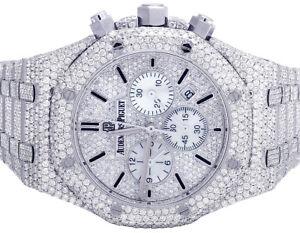Mens Audemars Piguet Royal Oak 41MM Chronograph S.Steel VS Diamond Watch 33.0 Ct