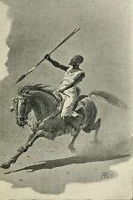 Sudan Africa 1898 Dervish Warrior Horseman Spear 7x5 Inch Print Reprint