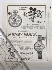 Vintage Ingersoll Mickey Mouse English Ad 1933 Pocket Wrist Watch Balloon Pants