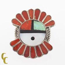 Navajo Native American Head Dress Shaped Sterling Silver Coral & Shell Ring
