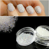 0.6mm Tiny AB Crystal Glass Nails Caviar Beads 3D Micro Pixie Mermaid Manicure