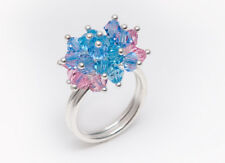 CRYSTAL CLUSTER RING, solid 925 Sterling Silver, lilac, pink, blue, 60mm R 3/4