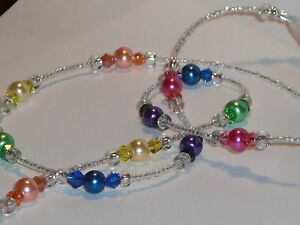 "Beaded Sunglasses/Eyeglass Chain~Clear Crystal Rainbow Pearl~28""~Buy 3 SHIP FREE"
