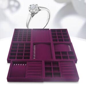 Display Box Earring Velvet Organizer Ring Tray Holder Show Jewelry Case Storage❤