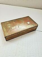 Vintage Metal Brass Copper Decor Pattern Hinge Box 7 1/8'' L ~ 3.75'' W ~1.5''T