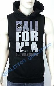 Sliver California Republic Black Vest Hoodie Sweatshirt Diamond Cali Workout Gym